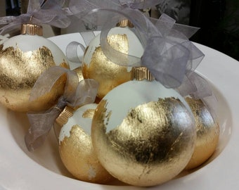 Handmade Ornament - Gold Leaf - White - Gift - 3 1/4 Diameter Glass Christmas, Hostess, Housewarming, Or Gift Exchange With Hanging Ribbon