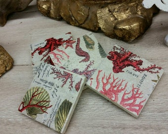 Coasters Coastal Sea Life / Red / Travertine Drink Coasters - Set of 4