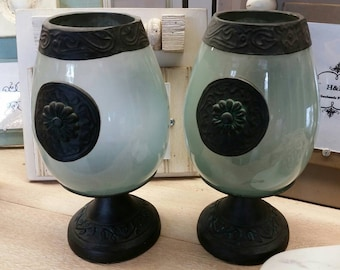 A Pair of Beautiful Vintage Glass and Patina Metal Zinc Candle Hurricanes