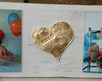 Handmade Wood Frame Painted White Distressed With A Gold Leaf Heart -XOXO-  Baby - Baptism - House Warming Gift or Just A Little Happy.