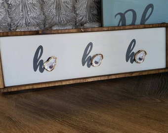 """HO HO HO Handpainted Wood Sign 9 1/2"""" x 31"""" Framed With Gold Leaf Oysters"""