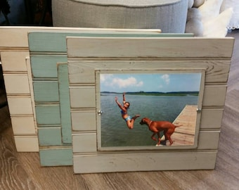 Handmade Beadboard Picture Frame - to hold 8x10 photo. Painted aged finish with a wood mat. Coastal - Wedding - Baby Gift - Family Grouping