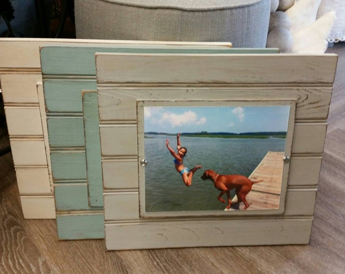Featured listing image: Handmade Beadboard Picture Frame - to hold 8x10 photo. Painted aged finish with a wood mat. Coastal - Wedding - Baby Gift - Family Grouping