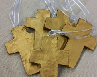 Gold Handmade Large Clay Hanging Cross - Ornaments Or Gift Tags - Blessing - Hostess Gift - Housewarming