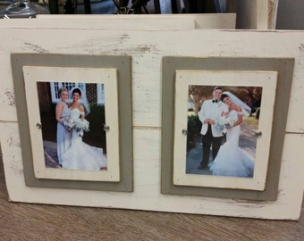 Wood Plank Double Handmade Picture Frame - Wedding, Nursery, Gift, Distressed Finish, Double Wood Mats White and French Linen Mats.