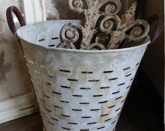 Vintage Olive Bucket, Rustic Metal, Industrial Storage