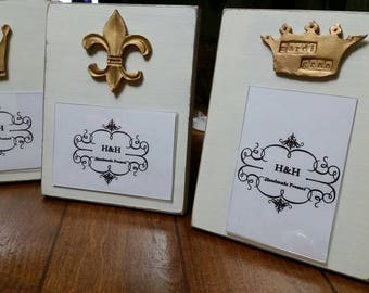 Handmade Wood Frame 4x6 Photo Painted Off White Distressed With A Gold Clay Fleur de lis  - Mardi Gras - Nola- New Orleans