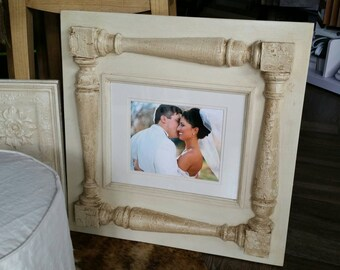 Distressed handmade picture frame -  100 yr old porch spindles from NOLA. Great Gift Idea - For Nursery or Wedding Gift.