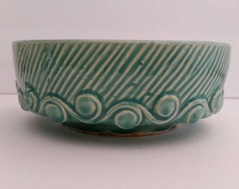 Vintage Aqua Green McCoy Swirl Bulb Bowl, McCoy Planter, Dog Bowl, Pottery 1940's, Cottage Decor, Farmhouse, Art Pottery.