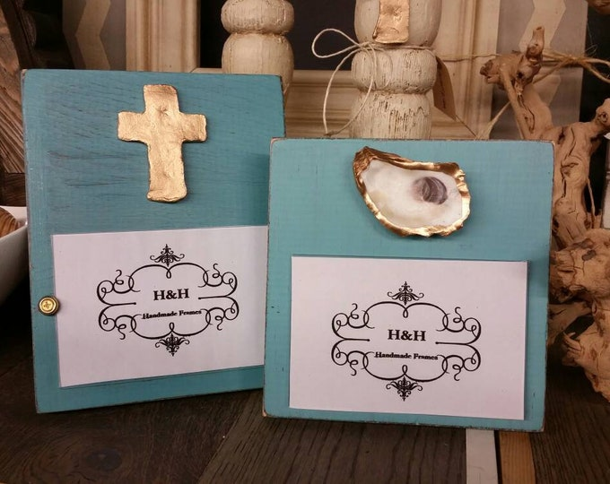 Featured listing image: Handmade Wood Frame 4x6 Photo Painted With A Gold Leaf Cross - Wedding - Baby - Baptism - House Warming Gift.