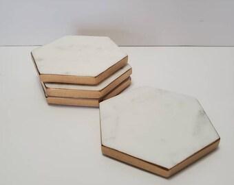 Carrara Marble - Gold Leaf - Hexagon Shaped Drink Coasters - Set of Four - Hostess Gift - Housewarming