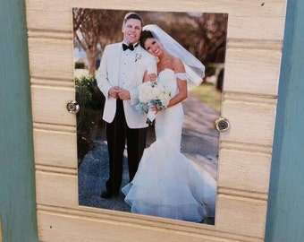 Handmade Picture Frame - to hold 5x7 photo.  Turquoise aged finish with white beadboard wood mat.