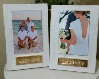 Handmade Wood Frame 4x6 Photo Painted Off White Distressed With A Gold Leaf Personalized Plaque -Best Day - My Heart - Gift.