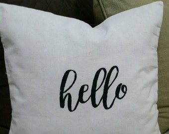 18 x 18 Decorative Accent Pillow - Hello - Natural Color - Cotton  with Zipper
