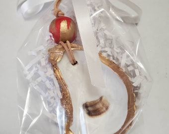 Oyster Shell Ornament With Gold Leaf And a Wood Bead - Christmas, Gift Tag, Hostess Gift, Housewarming, or Gift Exchange - Hanging Ornament.