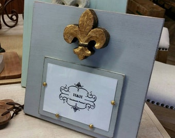 Handmade Wood Picture Frame - Franciscan Grey aged finish with Antique Gold Fleur-de-lis