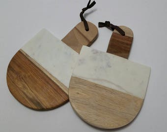 Small Paddle Shaped Hand Polished White Carrara Marble Cheese Board With Natural Mango Wood Hostess or Wedding Gift.