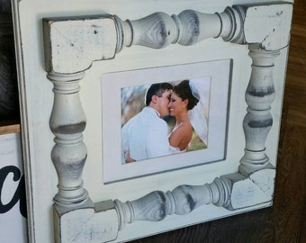Distressed handmade picture frame -  Large porch spindles. - Great Gift Idea - For Nursery or Wedding Gift.