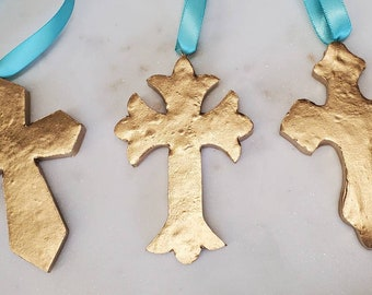 Cross Gold Leaf Handmade Clay Hanging Cross - Ornaments Or Gift Tags - Blessing - Hostess Gift - Housewarming -A Thank You Happy