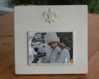 Handmade Picture Frame Wood - Painted Old World White aged finish with fleur-de-lis
