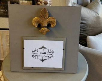 Handmade Wood Picture Frame - French Linen aged finish with Antique Gold Fleur-de-lis