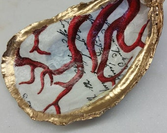 Oyster Shell Dark Red Coral Coastal Hostess Gift Bridesmaid Gift Housewarming Ring Dish Home Decor.