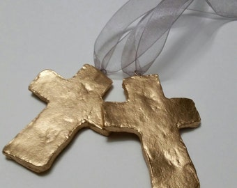 Gold Handmade Small Clay Hanging Cross - Ornaments Or Gift Tags - Blessing - Hostess Gift - Housewarming