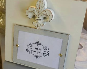 Handmade Painted Wood Picture Frame - With aged finish with antique gold fleur- de -lis the french symbol  for new beginnings.