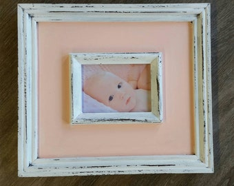 Distressed Handmade Picture Frame - Painted White / Peach - 5x7 Photo - Great Gift Idea - For Nursery or Family Room - Wedding Gift.