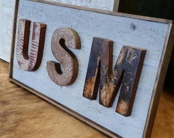 USM Handmade Distressed Wood Plank College Sign - University of Southern Mississippi - Dorm Room - Inside or Outside on a covered porch.