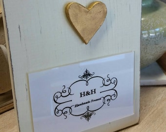 Handmade Wood Frame Painted Oyster White Distressed With A Gold Leaf Heart - Baby - Baptism - House Warming Gift or Just A Little Happy.
