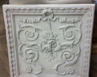 Large Beautiful Architectural  Vintage Plaster Wall Panel White Distressed Finish.