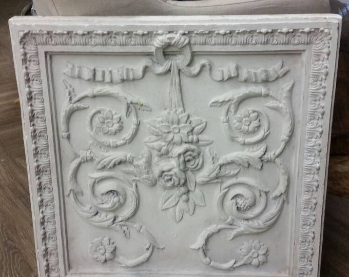 Featured listing image: Large Beautiful Architectural  Vintage Plaster Wall Panel White Distressed Finish.