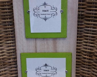 Wood Plank Handmade Double Picture Frame - Aged White Washed with Green Curry Wood Accent