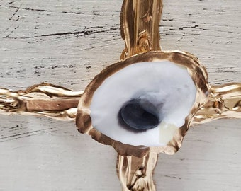 Hand Painted Wooden Block With Gold Cross And Oyster Shell