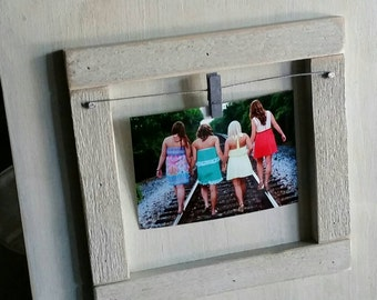 Large Wood Picture Frame - Coastal Aged White Finish - With Gray clothespin.