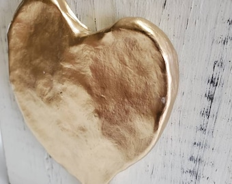Handmade Gold Leaf Heart - On Wood Distressed White   Block - Valentine Gift For Loved One Or Just Someone Special- Art Piece