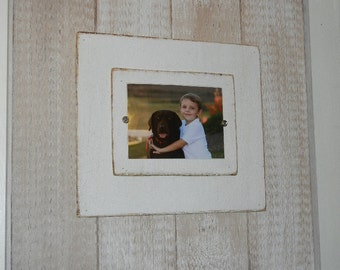 Large Wood Picture Frame - Coastal Aged White Driftwood Finish