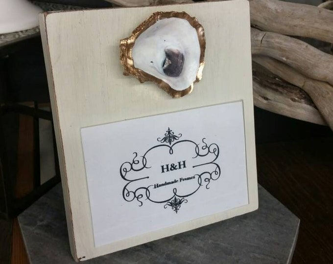 Featured listing image: Oyster on Handmade Wood Frame - Painted and Distressed Old White - Coastal - Gift - Beach.