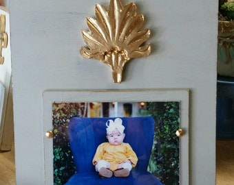 Handmade Wood Picture Frame - Franciscan Grey aged finish with Gold Leaf Palmetto For  5x7 Photo With Nailhead Tacks