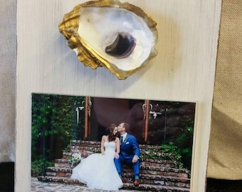 Oyster With Gold Leaf on Handmade Wood Frame - Painted and Distressed Old White - Coastal - Gift - Beach For 4x6 Photo.