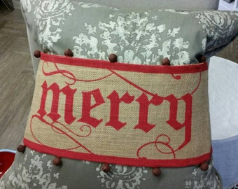 """Decorative Holiday """"Merry"""" Burlap Band with Bells for a Accent Throw Pillow"""