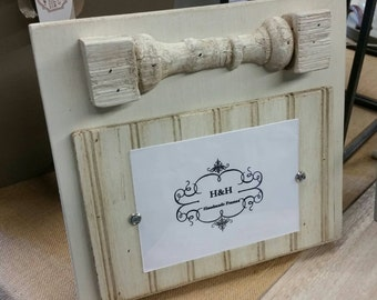 Handmade Wood Picture Frame  Painted Old White - Aged Finish with 100 yr old New Orleans porch spindles and beadboard.