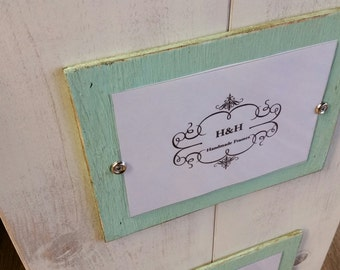 Wood Plank Triple Handmade Picture Frame - Aged White Wash Finish and Beach Glass Single Mats.