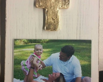 Handmade Wood Frame 4x6 Photo Painted Grey, Pink or White Distressed With A Gold Leaf Cross - Wedding - Baby - Baptism - House Warming Gift.