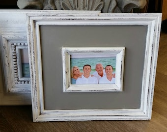 Distressed Handmade Picture Frame - Painted White / Gray - 5x7 Photo - Great Gift Idea - For Nursery or Family Room - Wedding Gift.