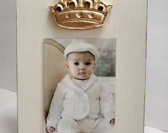 Handmade Wood Frame 4x6 Vertical Photo Painted Off White Distressed With A Gold Clay Crown - Wedding - Baby - Baptism - House Warming Gift.