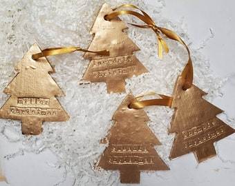 Gold Leaf Handmade Large Clay Hanging Tree - Christmas Ornaments Or Gift Tags - Blessing - Hostess Gift - Housewarming