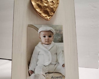 Gold Gilded Hand Shaped Heart Wood Frame 4x6 Vertical Photo Painted Distessed Oyster White Baby or Sweetheart Gift