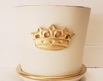 Plant Container - Planter Painted White With Gold Crown and Gold Accents - Handmade Crown - Tray Included.